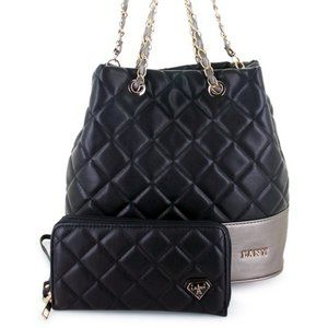 Quilted Vegan Leather Handbag and Wallet